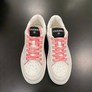 CHANEL Sneakers 21S NEW Pink White Purple 39 9